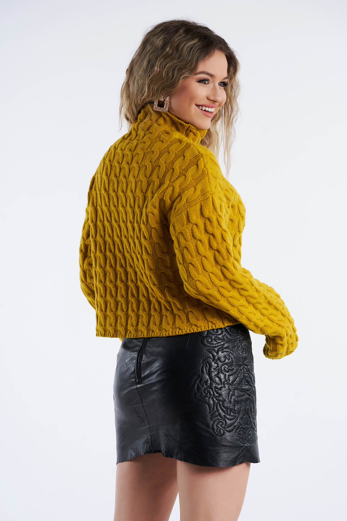 Pulover din tricot, Mustar (2)